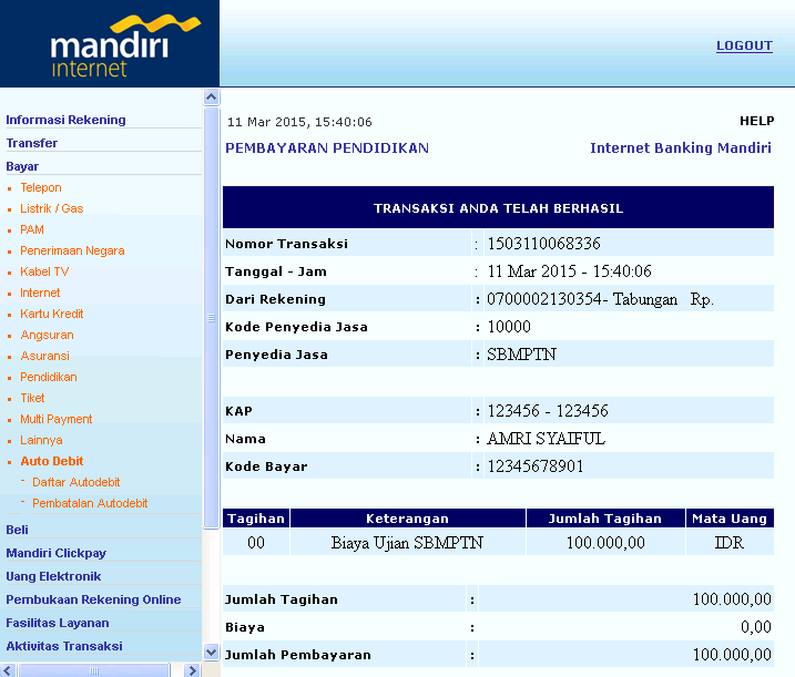 mandiri internet banking sbmptn